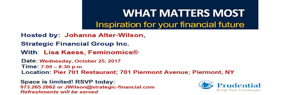 October 25th – What Matters Most – Planning for your financial future